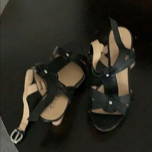 Guess strappy platform wedges